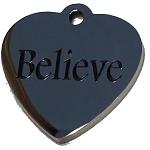 BELIEVE heart charm